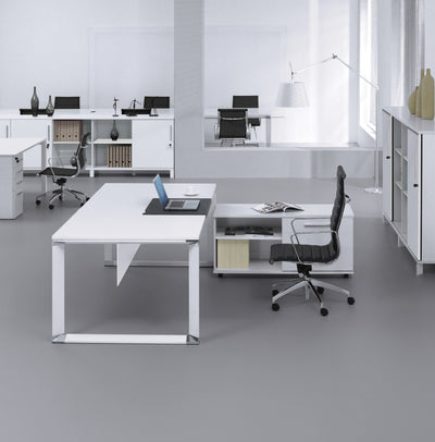 "Modern 71"" White Lacquer Executive Desk with Sliding Writing Pad"