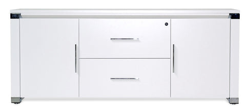 "71"" Modern White Lacquer Credenza with Two Locking File Drawers"