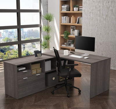 Stunning L-Shaped Bark Gray Office Desk with Storage