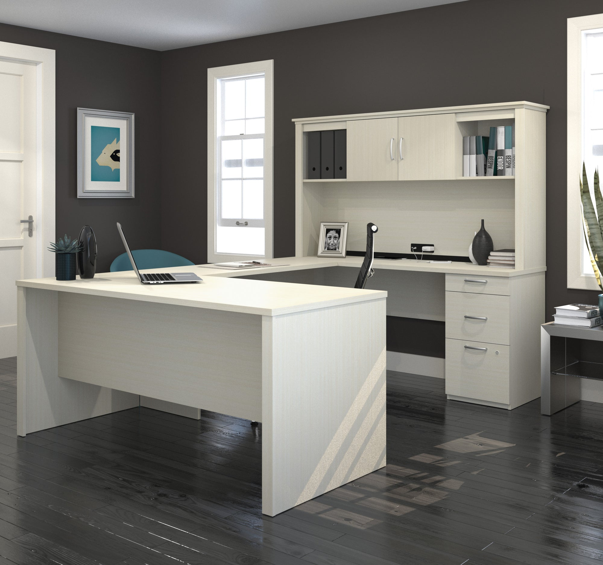 Image of: 95 X 66 White Chocolate U Shaped Desk With Hutch By Bestar Officedesk Com
