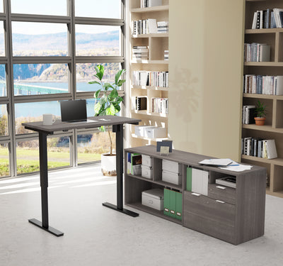 Bark Grey Office Desk with Adjustbale Height and Credenza