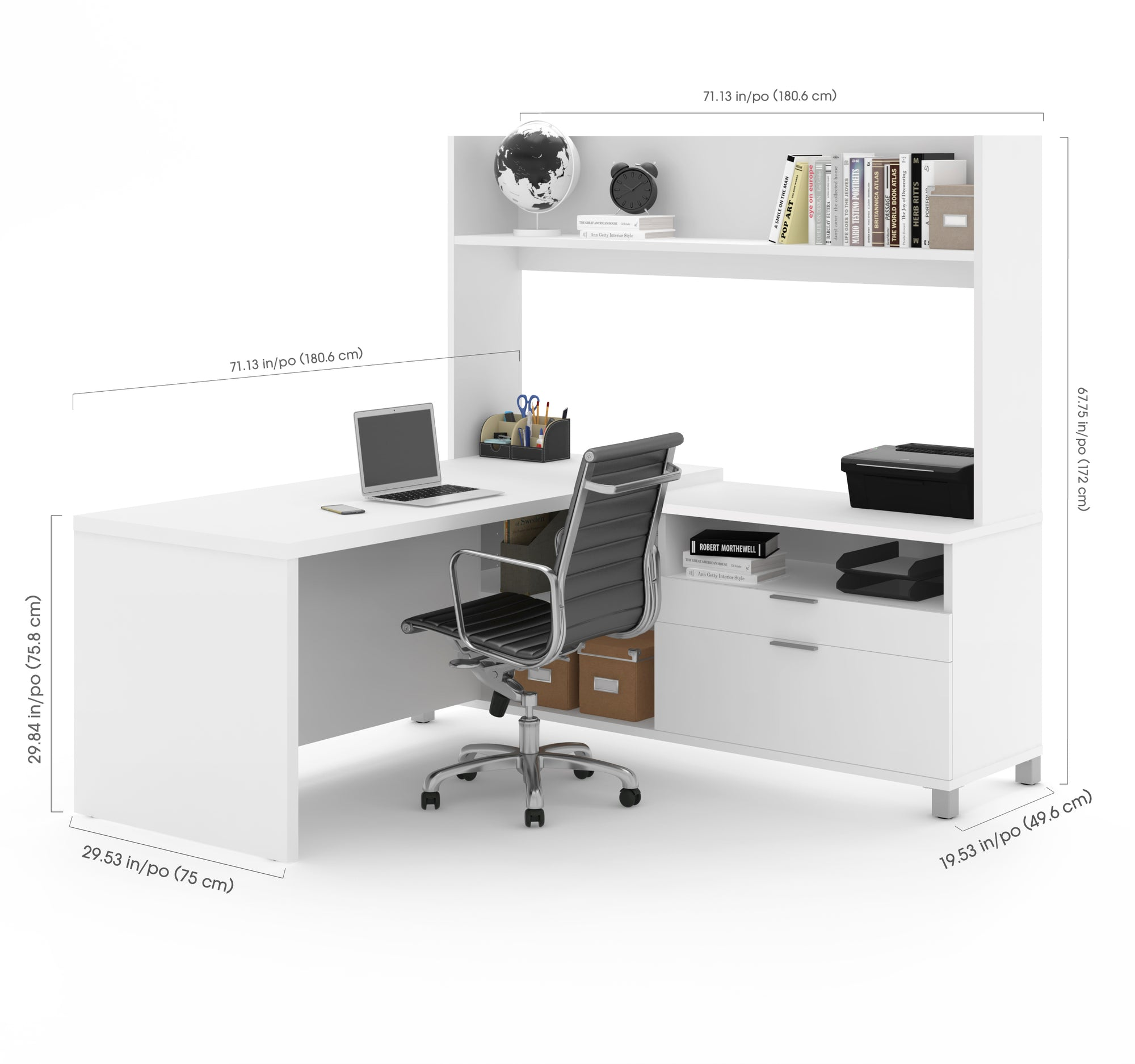 71 X 71 White L Shaped Office Desk With Hutch By Bestar Officedesk Com