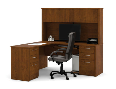 L-shaped Double Ped Desk with Hutch in Tuscany Brown