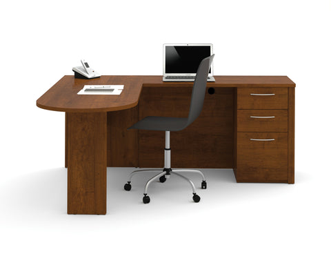 Embassy Collection L-shaped Desk with Peninsula in Tuscany Brown