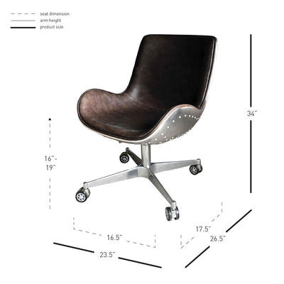 Scoop-Style Distressed Caramel Office Chair