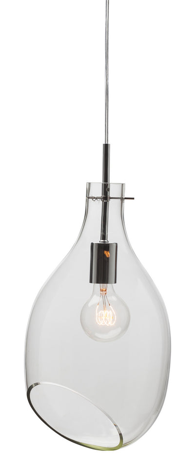 Clear Glass Pendant Light with Stylish Cutaway