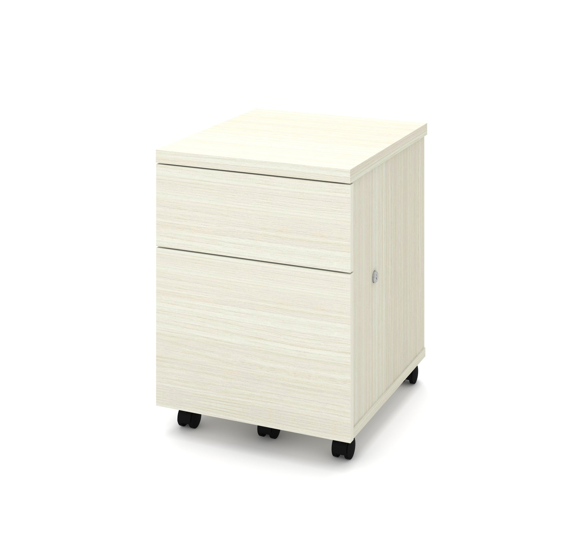 Mobile Locking File Cabinet In White Chocolate