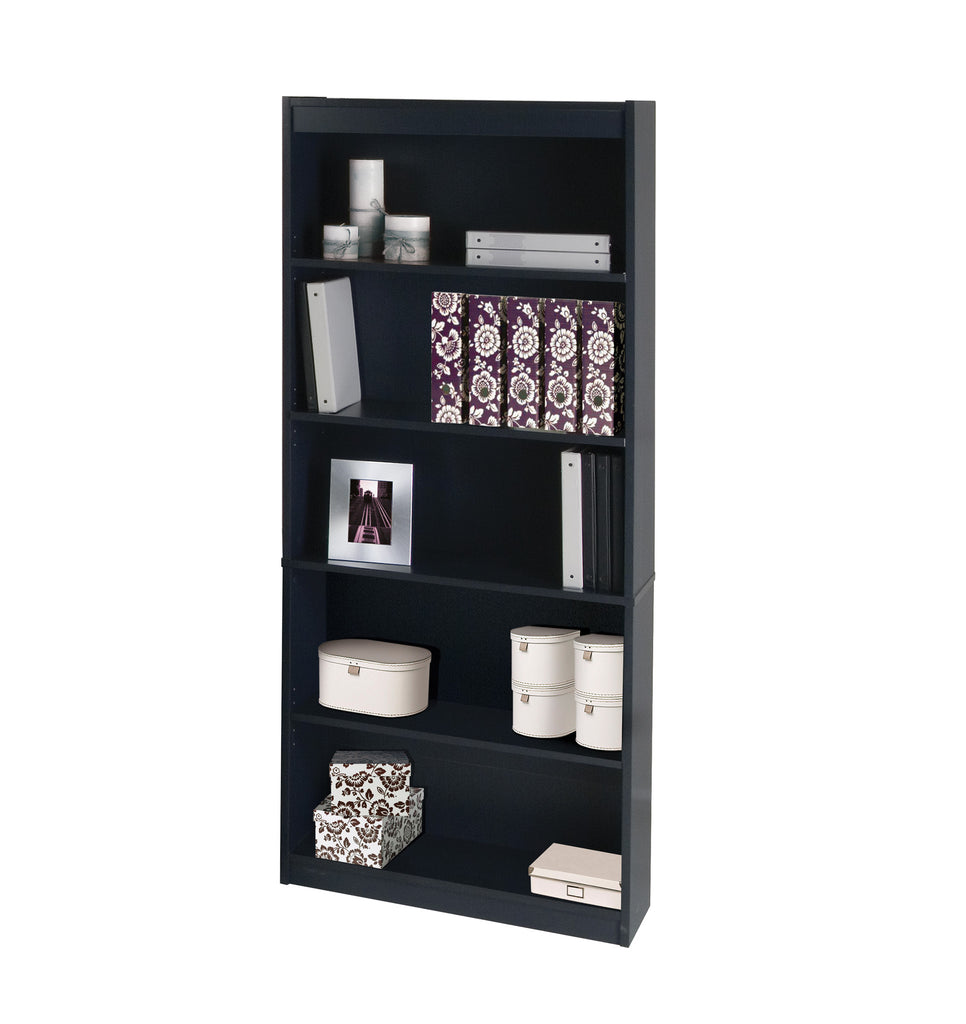 "Premium 72"" Five Shelf Bookcase in Charcoal from Bestar"