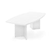 "95"" White Boat-Shaped Conference Table"