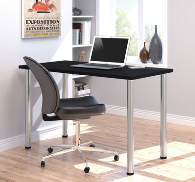 "Modern Premium 48"" Office Desk with Black Top & Silver Legs"
