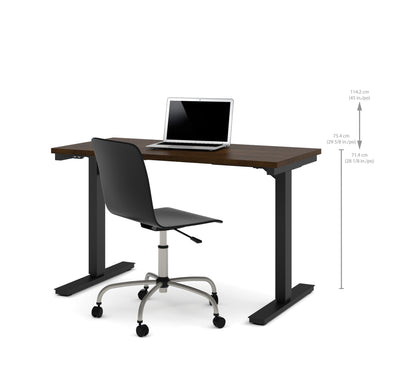 "Modern 48"" Office Desk in Chocolate with Electric Height Adjustment from 28 - 45"""