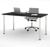 "Modern Premium 60"" Office Desk with Black Top & Silver Legs"