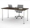 "Modern Premium 60"" Office Desk with Tuxedo Top & Silver Legs"