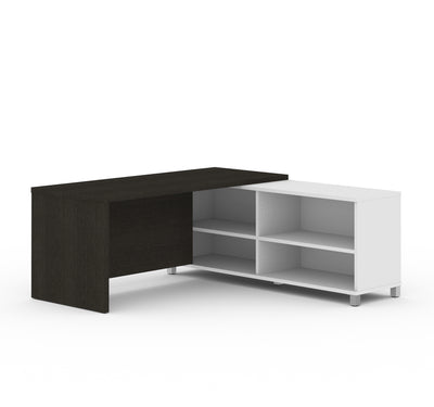 Modern L-Shaped Desk in White & Deep Gray with Integrated Shelves