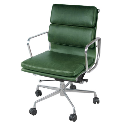 Forest Green Low-Back Padded Office Chair