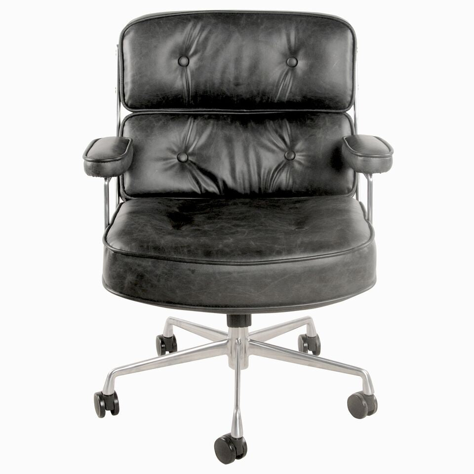 vintage coal leatherette rolling office chair w aluminum frame