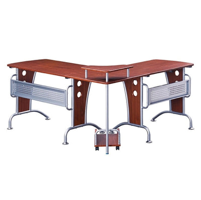 Modern Mahogany L-Shaped Desk with CPU Stand