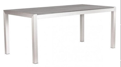 "Modern 71"" Brushed Aluminum Office Desk with Slatted Wood Top"