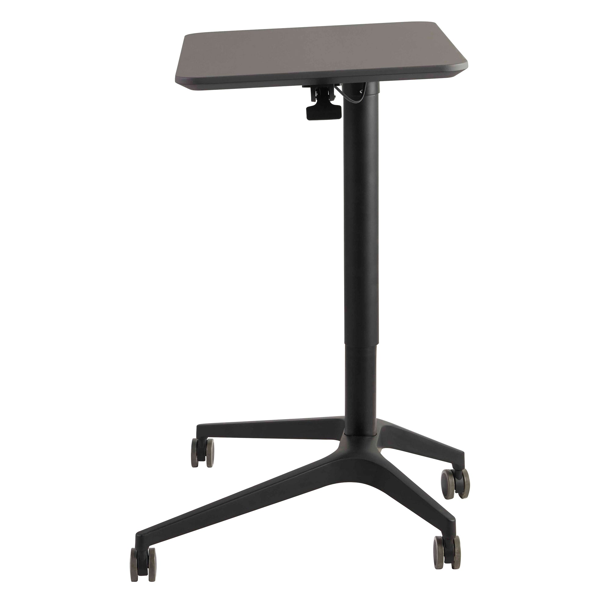 station mobile work stand adjustable desk rolling with vivo cart presentation up computer storage height pin