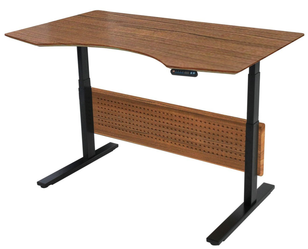 "63"" Premium Standing Desk with Electric Height Adjustment in Teak"