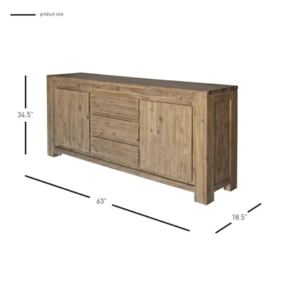 Classic Storage Credenza of Acacia Wood in Brushed Smoke