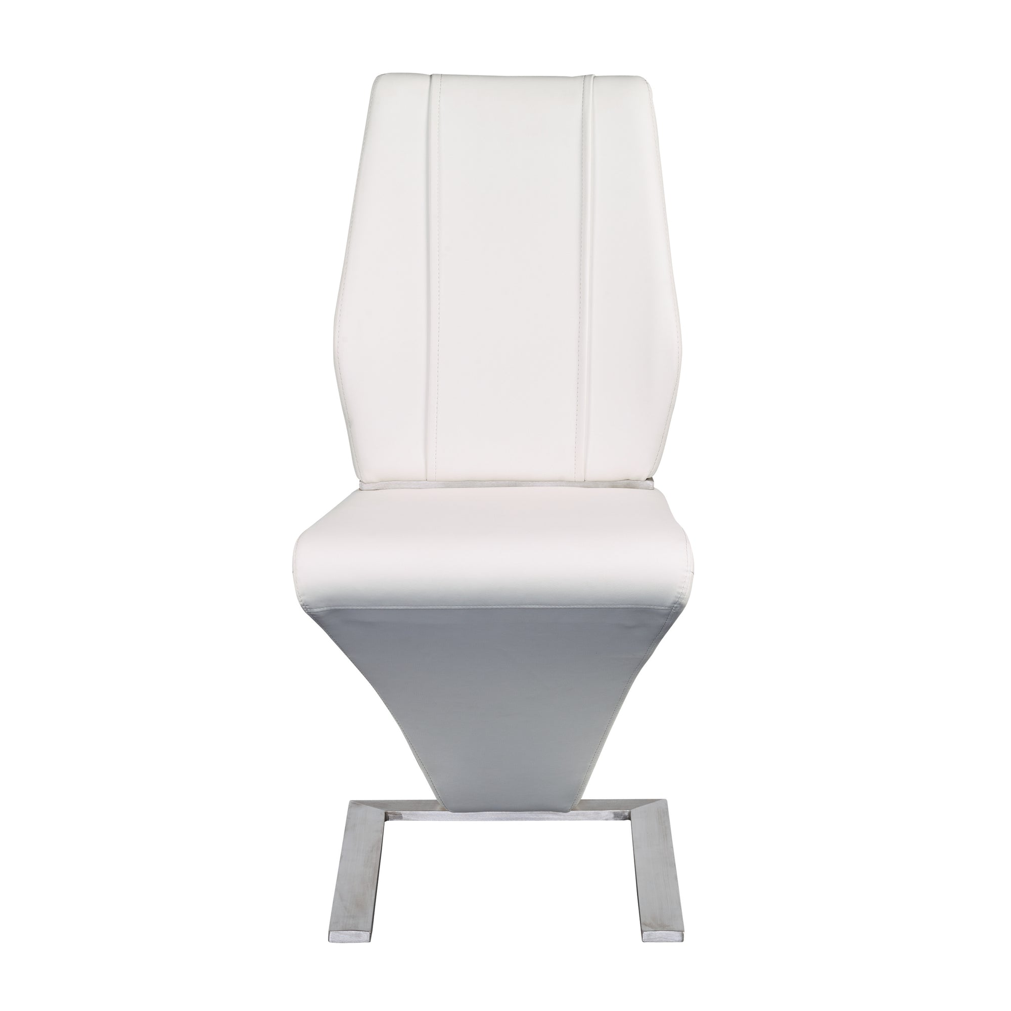 Z Shaped White Leatherette Guest Or Conference Chairs (Set Of 2)