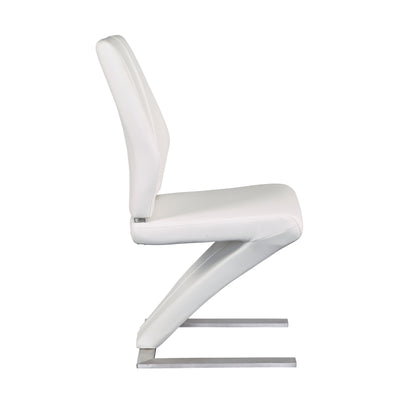 Z-Shaped White Leatherette Guest or Conference Chairs (Set of 2)