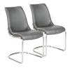 Classic Dark Gray Leatherette Guest or Conference Chairs (Set of 2)