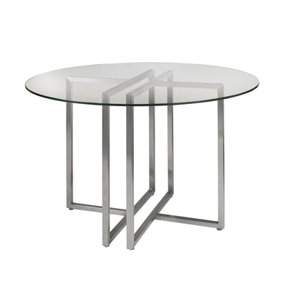 "42"" Glass & Brushed Stainless Steel Meeting Table"