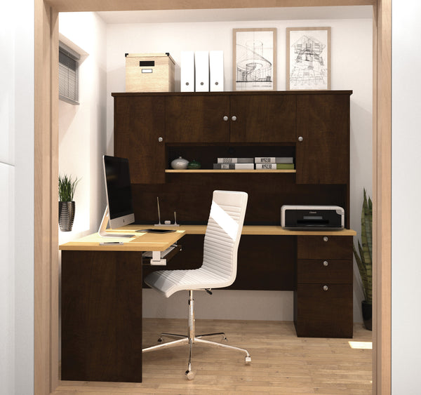 Manhattan Collection L Shaped Desk With Hutch In Chocolate