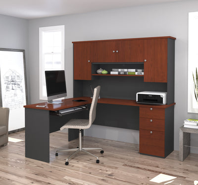 "71"" X 59"" L-shaped Desk with Hutch in Bordeaux & Graphite"