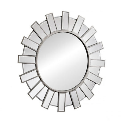 Delightful Round Mirror w/ Radiating Mirror Frame