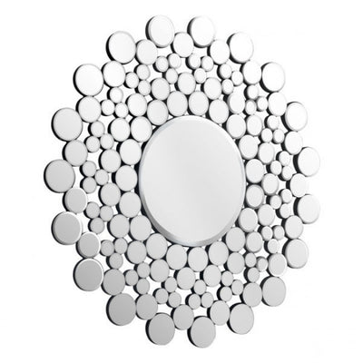 Cheerful Round Pebble Mosaic Office Wall Mirror