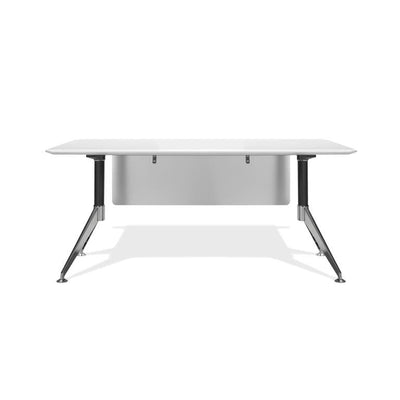 "Modern White Lacquer 63"" Executive Office Desk with Chrome Base"