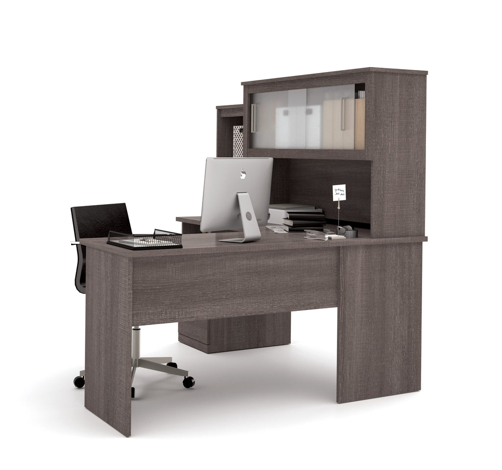 modern bark gray lshaped desk and hutch with frosted glass doors