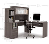 Modern Bark Gray L-shaped Desk and Hutch with Frosted Glass Doors