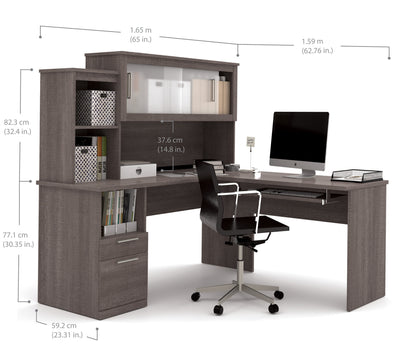 Modern Bark Gray L Shaped Desk And Hutch With Frosted Glass Doors