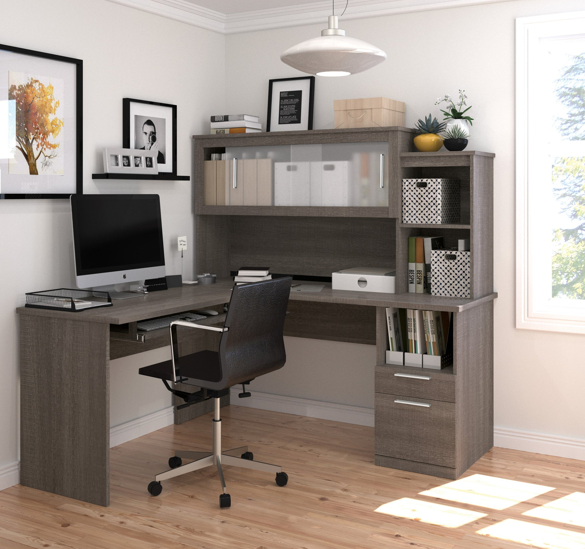 Modern Bark Gray L-shaped Desk And Hutch With Frosted