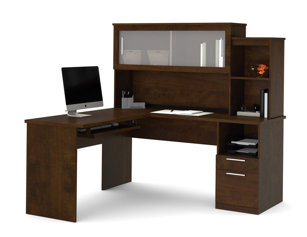 Beautiful L Shaped Desk Modern Lshaped And Hutch With Frosted Glass Doors Inspiration