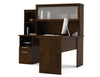 Modern Chocolate L-shaped Desk and Hutch with Frosted Glass Doors