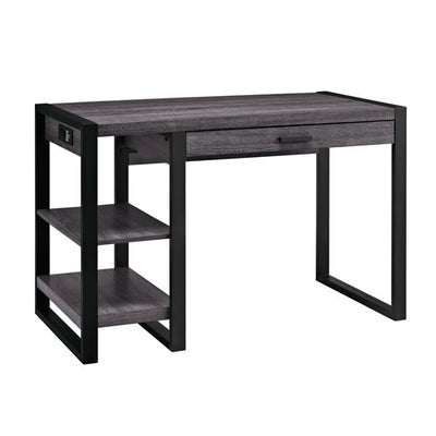 "48"" Modern Desk with Shelves & Built-In Plugs in Charcoal Finish"