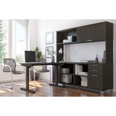 "48"" Sit-Stand Desk with 71"" Credenza & Hutch in Deep Gray"