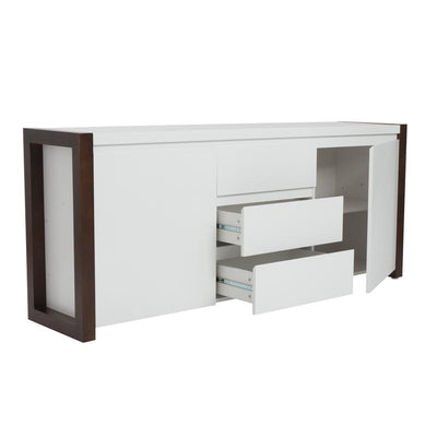 Clean White Stylish Storage Credenza Framed in Dark Walnut