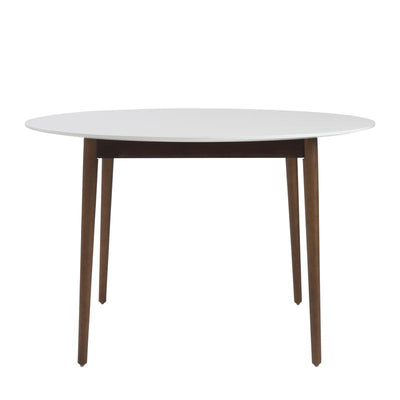 Round White Matte Meeting Table w/ Solid Ash Wood Legs