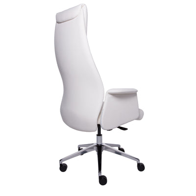 Elegant High-Backed White Leatherette Office Chair