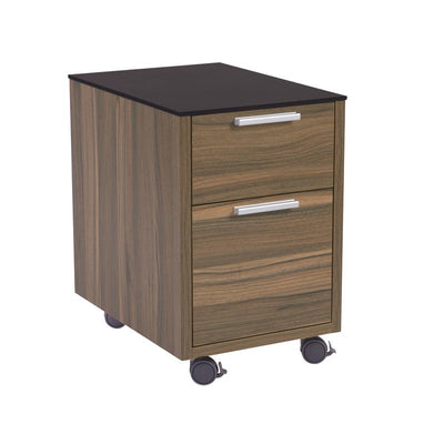 Classic 2-Drawer Walnut Office Filling Cabinet w/ Black Top