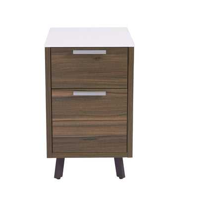 Classic 2-Drawer Walnut Office Filling Cabinet w/ White Top