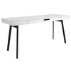 "63"" Modern White Office Desk w/ Black Legs"