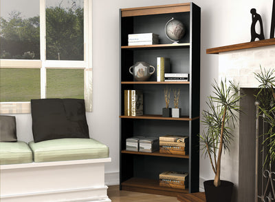 "Tuscany Brown & Black 72"" Five-Shelf Bookcase"