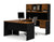 Tuscany Brown & Black U-Shaped Workstation with Hutch